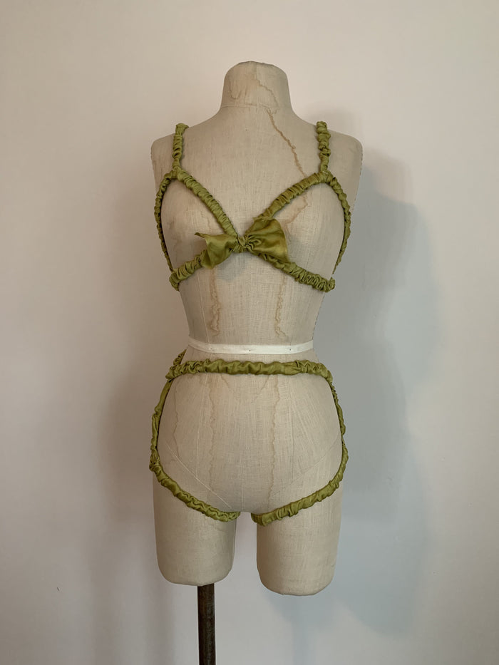 Lovers Ruffled Silk Charmeuse Harness in Chartreuse - Siobhan Barrett Handmade Lingerie
