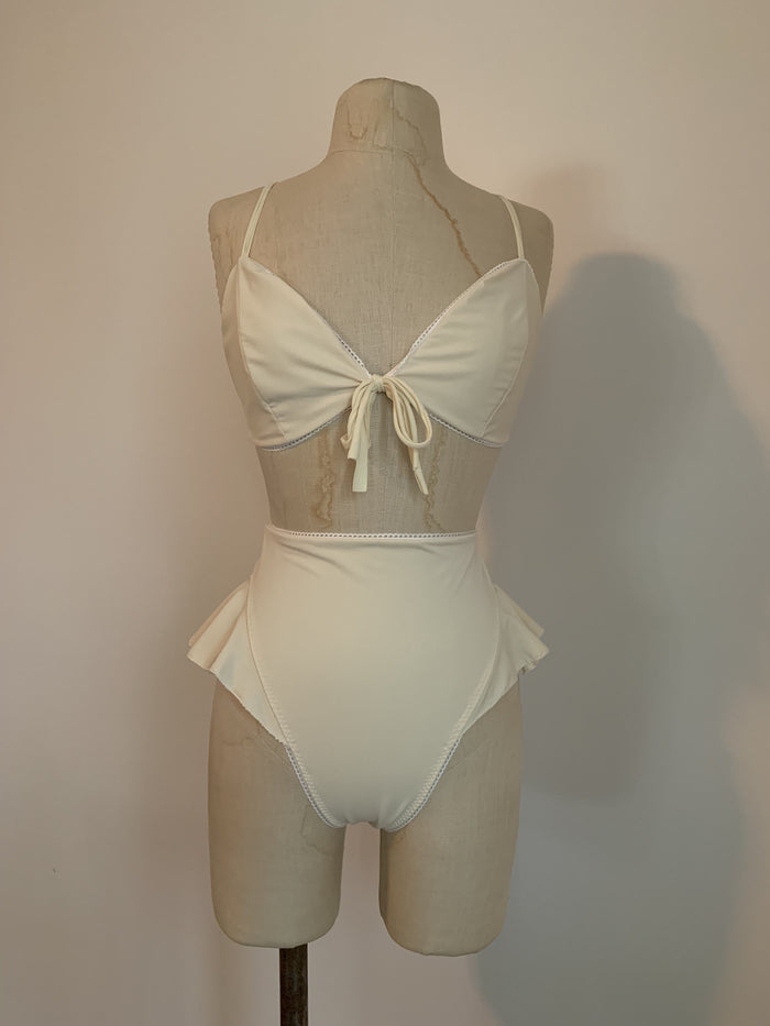 Lovers Bikini Thong Bottoms in Ivory - Siobhan Barrett Handmade Lingerie