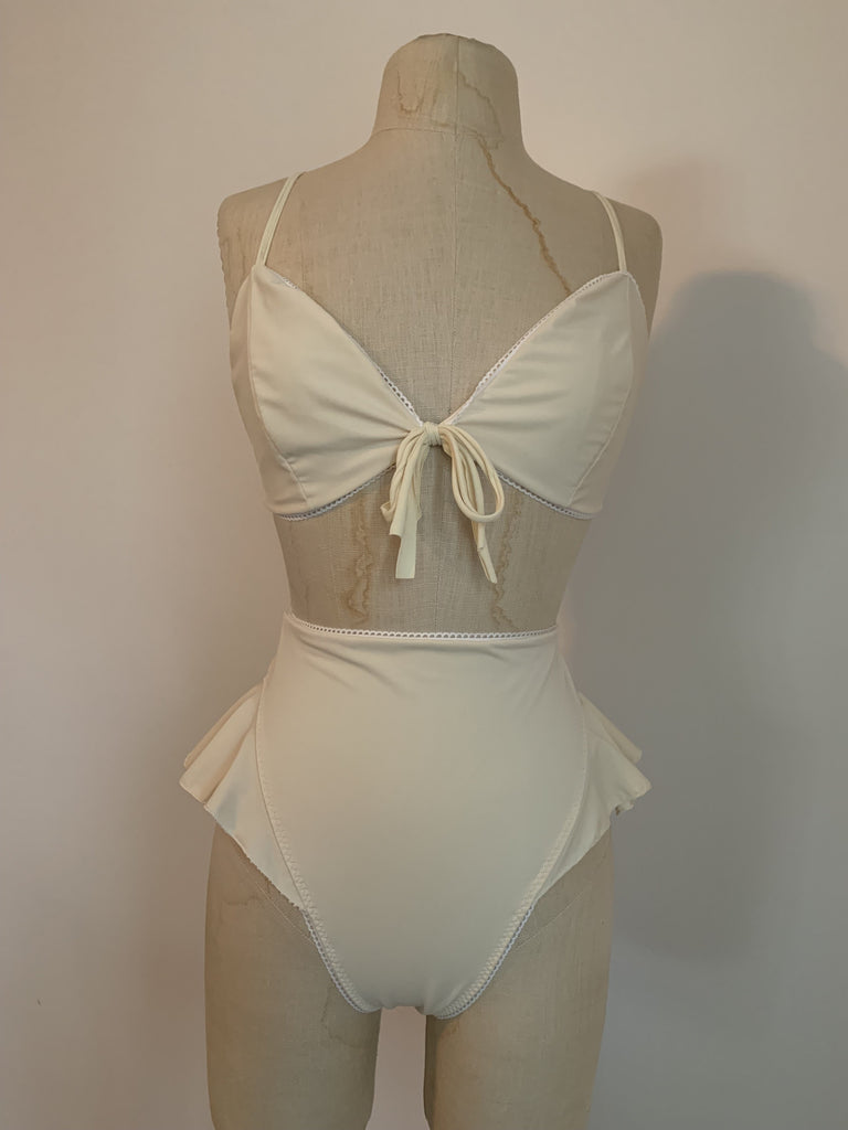 Reserved: Lovers Bikini Set in Ivory - Siobhan Barrett Handmade Lingerie