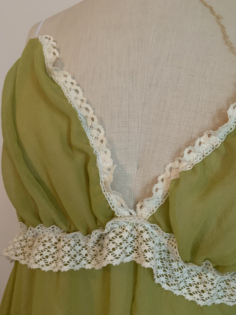 Ready to Ship Lovers Ruffled Silk Chiffon Teddy in Chartreuse - Siobhan Barrett Handmade Lingerie