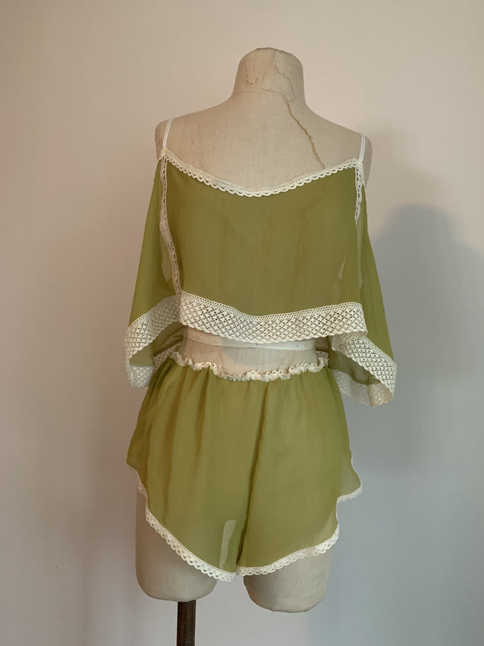 Ready To Ship Lovers Silk Chiffon Camisole in Chartreuse - Siobhan Barrett Handmade Lingerie