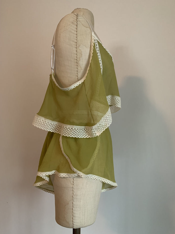 Lovers Silk Chiffon Tap Shorts With Lace Trim in Chartreuse - Siobhan Barrett Handmade Lingerie
