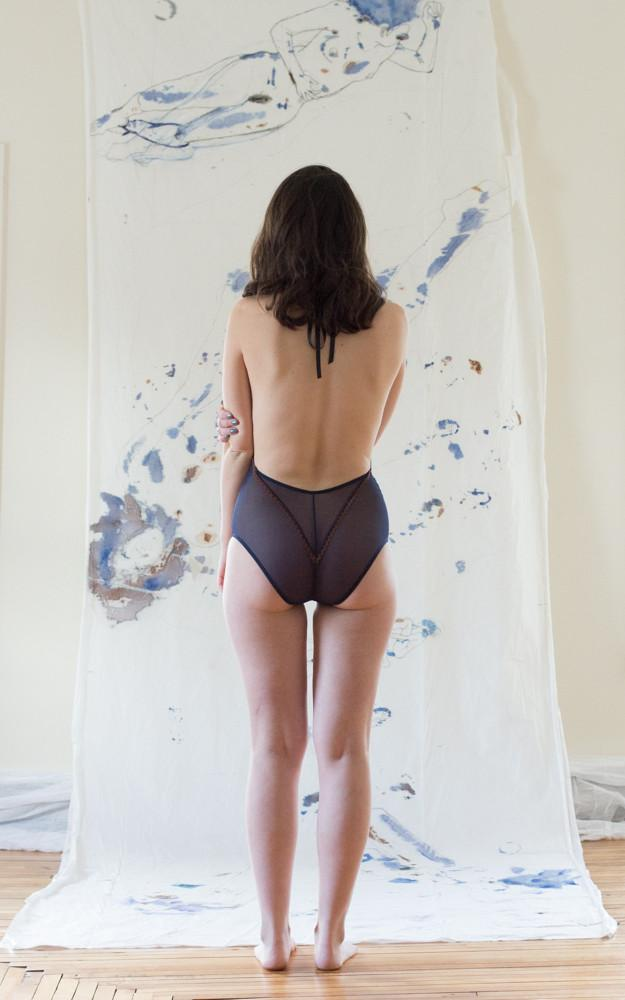 As a Woman I Sneak Peak Mesh Navy Bodysuit - Siobhan Barrett Handmade Lingerie