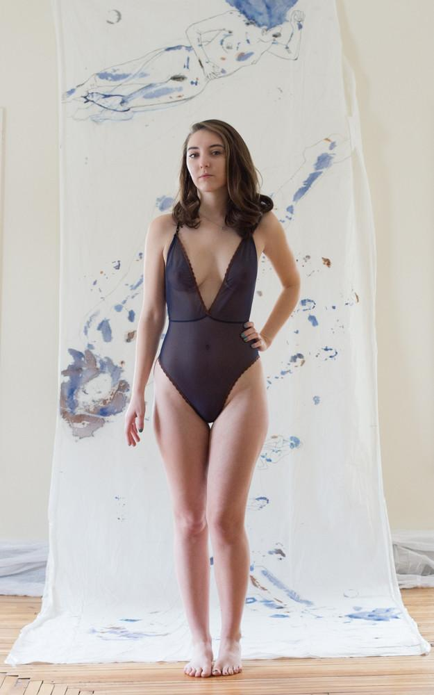 As a Woman I Mesh Navy Low Back Bodysuit - Siobhan Barrett Handmade Lingerie