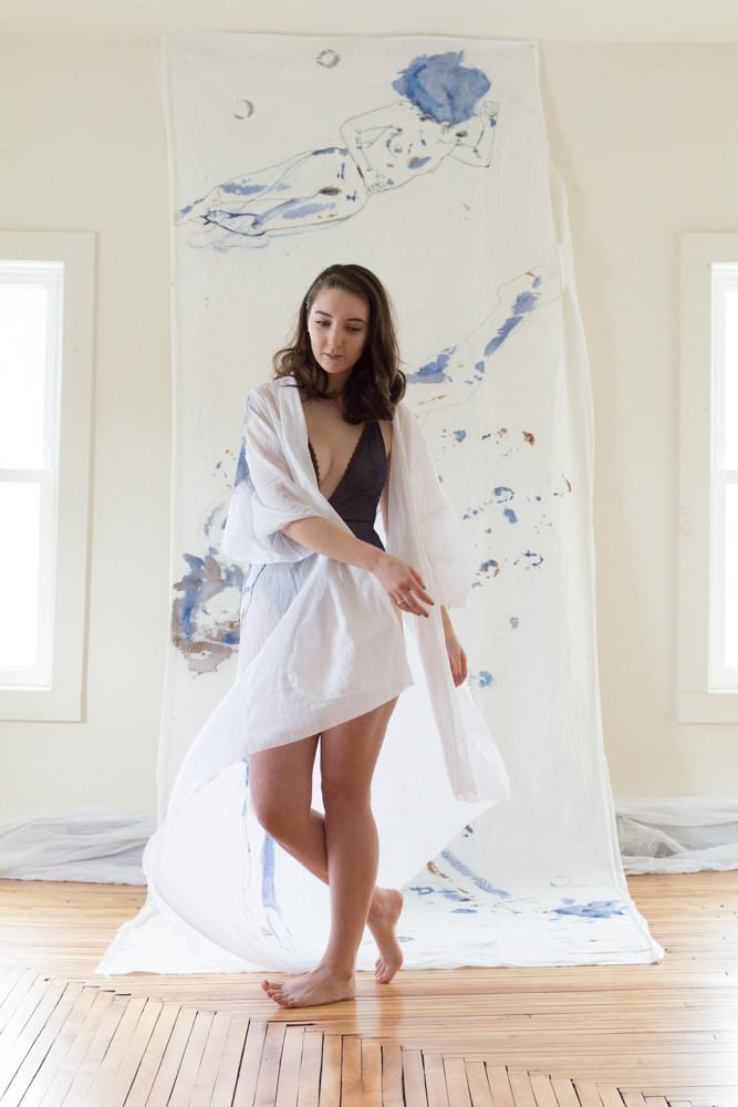 As A Woman I Hand Painted Cotton Robe Duster Loungewear