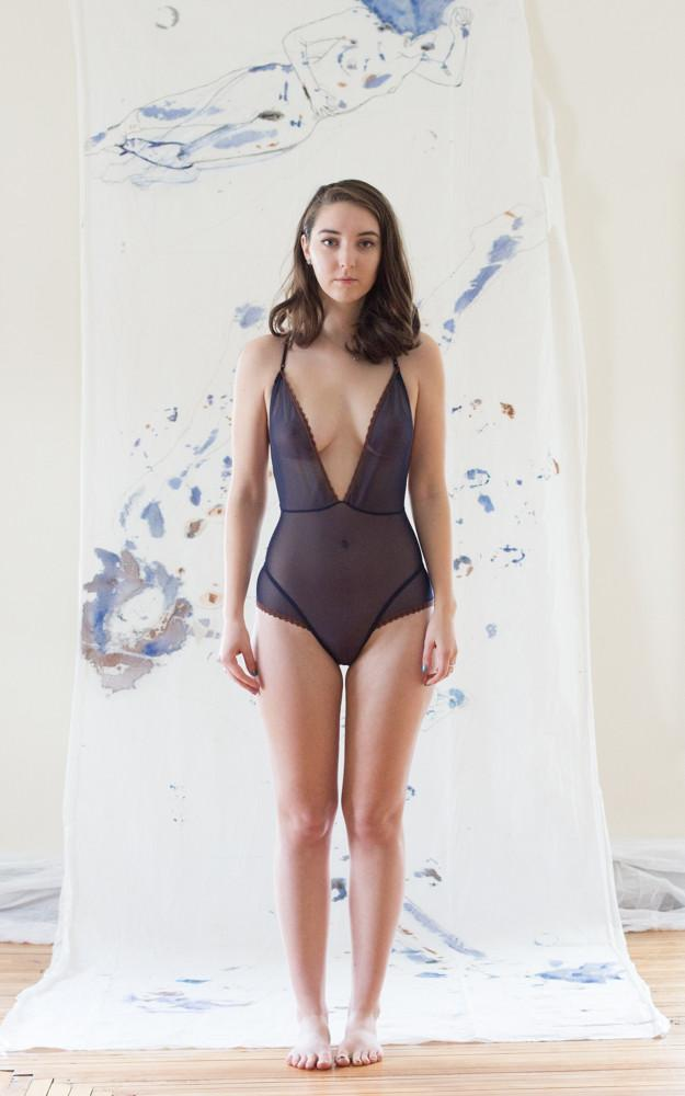 As a Woman I Mesh Navy Low Back Bodysuit Teddy