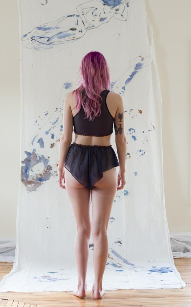 As A Woman I Mesh Navy Booty Shorts