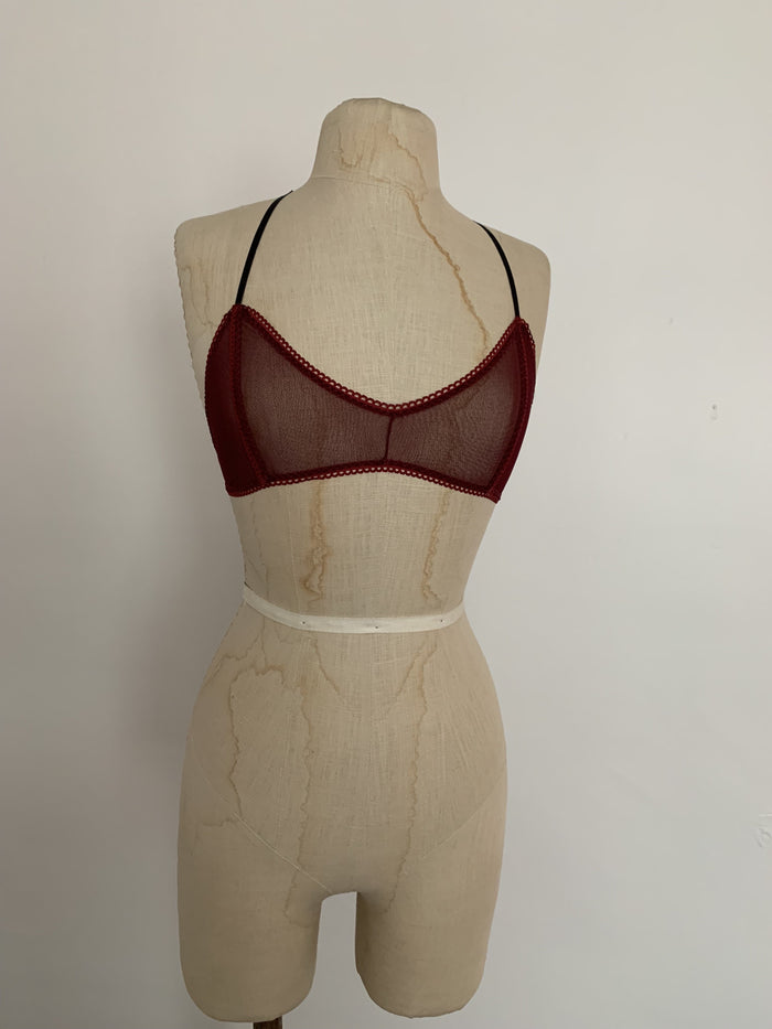 Lovers Mesh Seamed Bralette in Black Cherry - Siobhan Barrett Handmade Lingerie