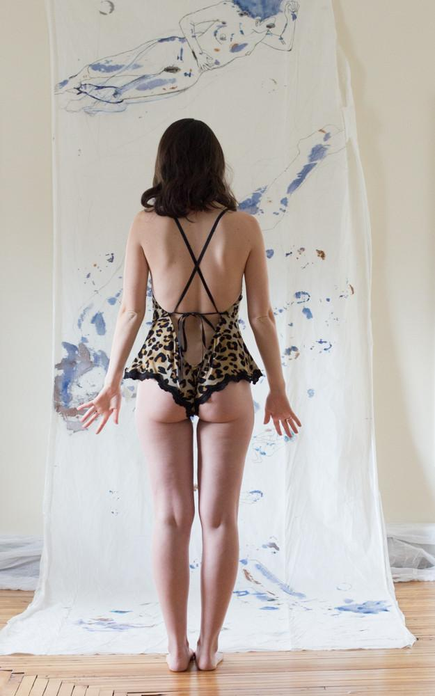 Ready to Ship Fancy Feminist Leopard Print Bodysuit - Siobhan Barrett Handmade Lingerie