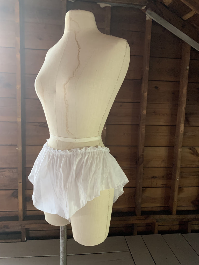 Ready to Ship White Cotton Tap Shorts - Siobhan Barrett Handmade Lingerie