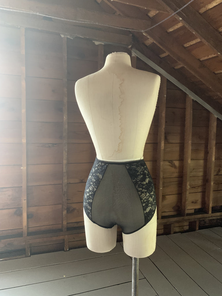 Ready to Ship Black Mesh and Lace High Waisted Panties - Siobhan Barrett Handmade Lingerie