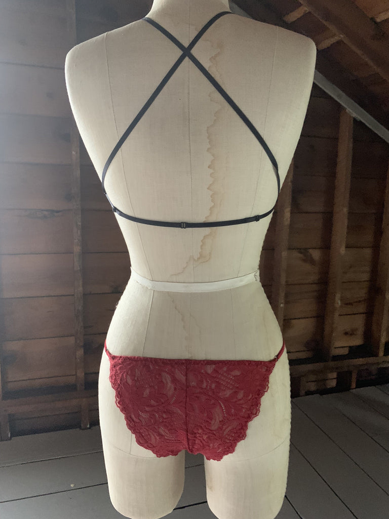 Ready to Ship Be Mine Mesh Scarlet Red Adjustable Undies - Siobhan Barrett Handmade Lingerie