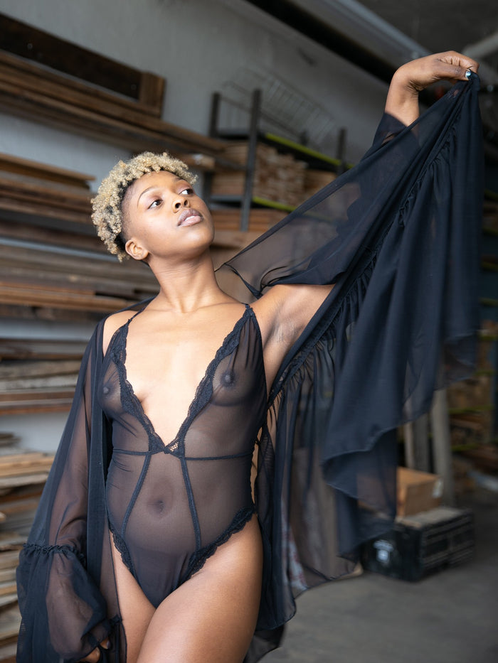 Lovers Mesh Robe and Sheer Bodysuit Lingerie Set - Siobhan Barrett Handmade Lingerie