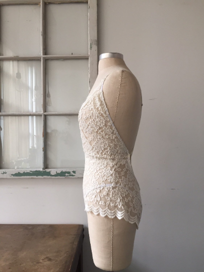 Bride to Be Ivory Lace Bridal Lingerie Lace Bodysuit - Siobhan Barrett Handmade Lingerie