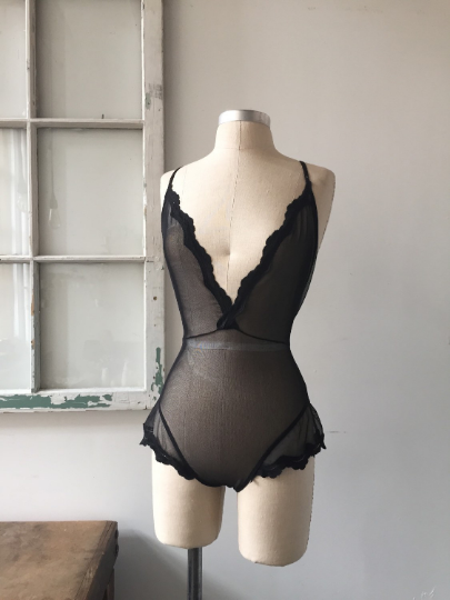 Bride to Be Black Lace Lingerie Bodysuit - Siobhan Barrett Handmade Lingerie