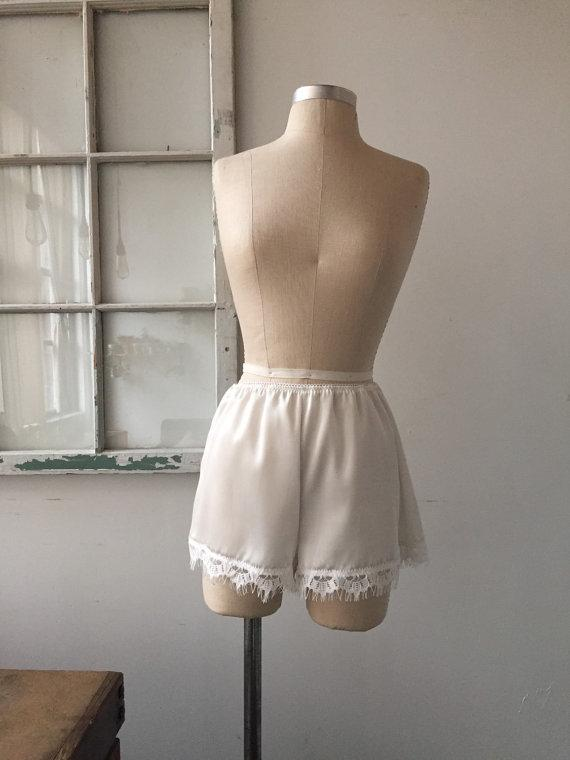 High Waisted White Silk Charmeuse Tap Shorts