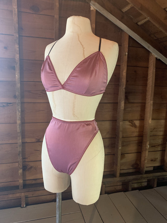Ready to Ship Lovers Silk Charmeuse Bralette in Fuschia - Siobhan Barrett Handmade Lingerie