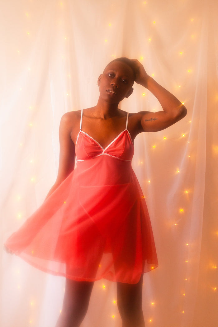Lovers Mesh Nightgown in Marfa Pink - Siobhan Barrett Handmade Lingerie