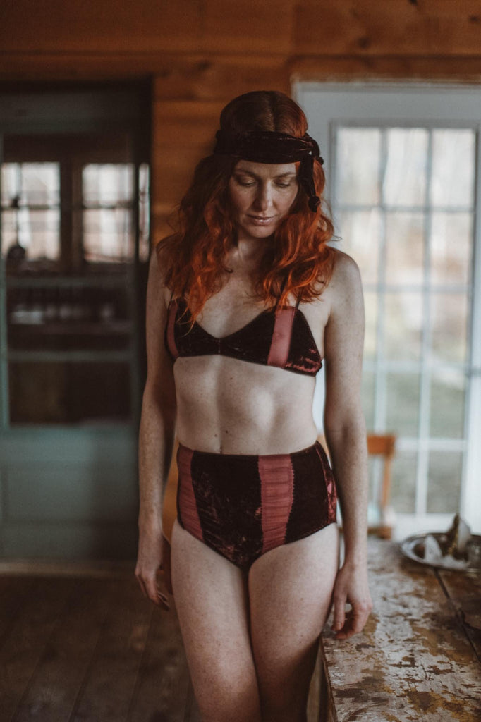 Hello Winter Dark Plum Chiffon & Silk Velvet Bralette