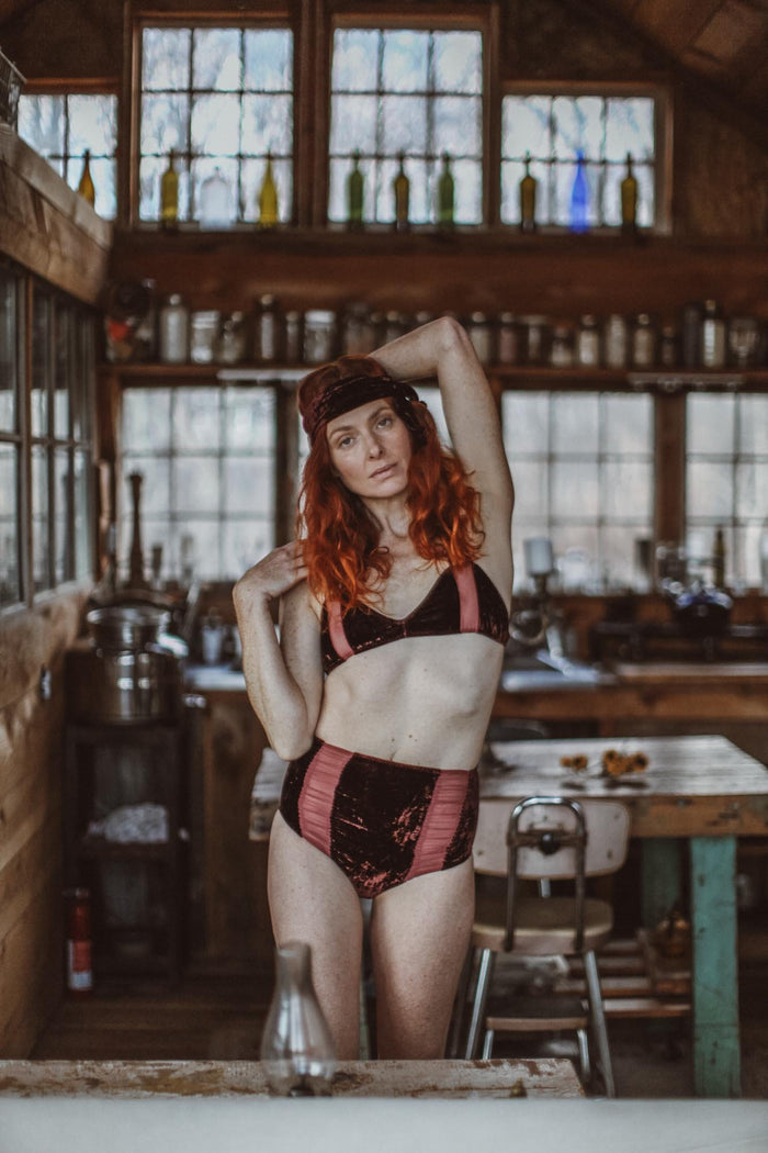Hello Winter Dark Plum Chiffon & Silk Velvet High Waisted Undies - Siobhan Barrett Handmade Lingerie