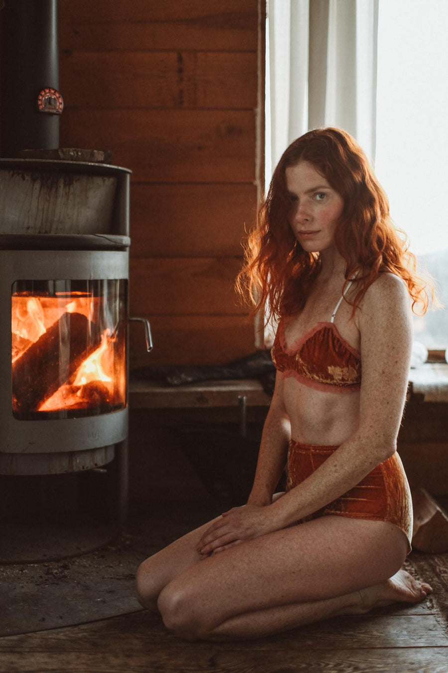 Hello Winter Warm Cinnamon Silk Velvet & Chiffon Bralette