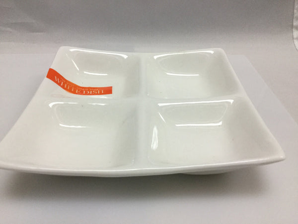 White dish 4 divided plate