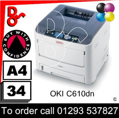 OKI C610dn Printer Consumable Supplies - Toner, Drums, Fuser, Transfer Belt and Accessories Next Day UK Delivery