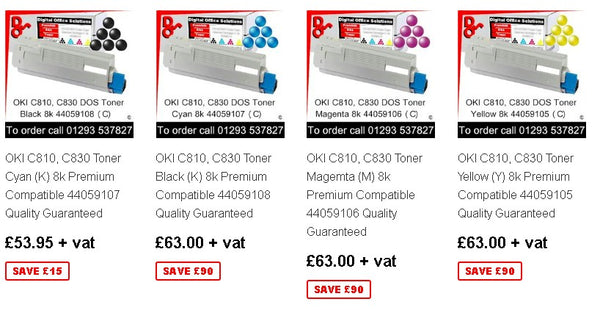 OKI C810 Toner, Drum, Fuser, Transfer Belt, Accessories