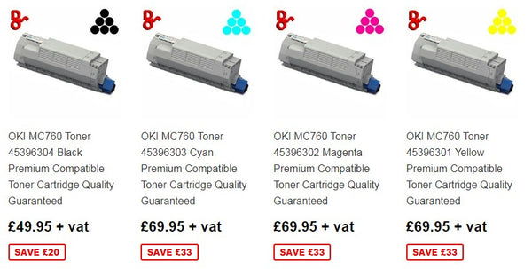 OKI MC760 Toner, Drums, Fusers, Transfer Belts and Accessories