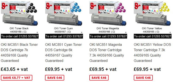 Consumables OKI MC851 Toner, Drum, Fuser, Transfer Belt, Accessories