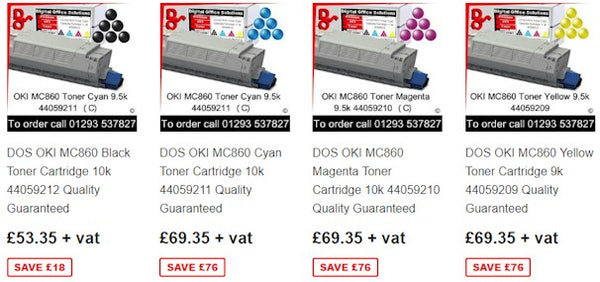 Consumables OKI MC860 Toner, Drum, Fuser and Transfer Belt