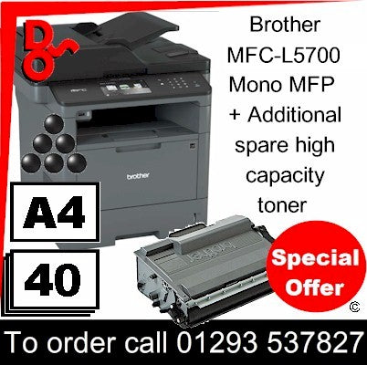 """Special Offer"" NEW Brother MFC-L5700DN Mono A4 MFP Printer plus spare toner Crawley West Sussex and Surrey"