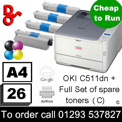 Refurbished OKI C511dn Colour A4 refurbished Laser Printer + spare Toner Set for sale Crawley West Sussex and Surrey