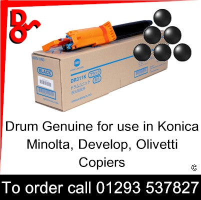 Drum Black Genuine for use in DR311, DR311K Konica Minolta Bizhub C220/280/360, Develop Ineo+ 220/280/360, Olivetti d-Color MF220/280/360