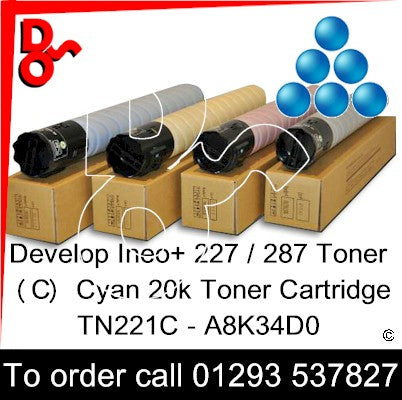 Develop INEO +227 / +287 Genuine Toner Cartridge (C) Cyan 20k A8K34D0 next day UK Nationwide call 01293 537827