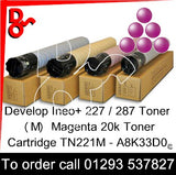Develop INEO +227 / +287 Genuine Toner Cartridge TN221M (M) Magenta 20k A8K33D0 next day UK Nationwide call 01293 537827
