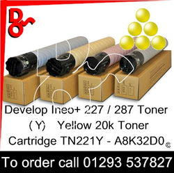 Develop INEO +227 / +287 Genuine Toner Cartridge TN221Y (Y) Yellow 20k A8K32D0 next day UK Nationwide call 01293 537827