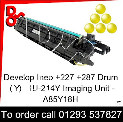 Develop Ineo +227 +287 Drum (Y) Yellow IU-214Y Imaging Unit - A85Y18H   next day UK Nationwide call 01293 537827