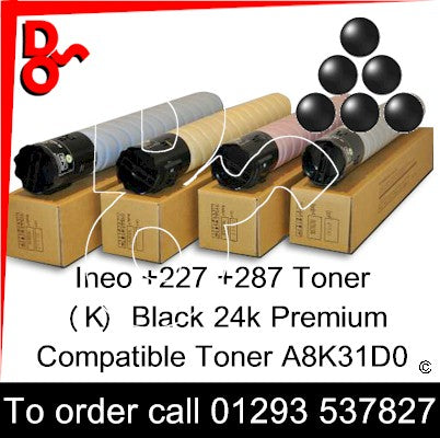 Develop Ineo +227 +287 Genuine Toner Cartridge  (K) Black 24k TN224k – A8K31D0  next day UK Nationwide call 01293 537827