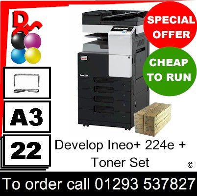"""Special Offer"" Refurb Develop Ineo+ 224e MFP Multi-Function A3 Colour Printer + Spare Tonet Set"