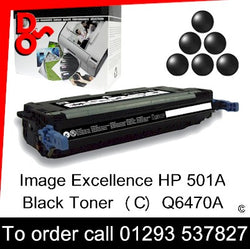 HP Toner 501A Q6470A Black Premium Compatible Quality Guaranteed sales Crawley West Sussex and Surrey