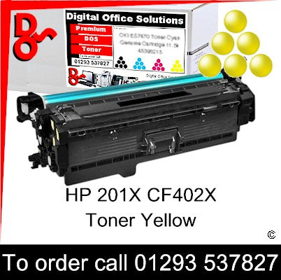 HP 201X Yellow Toner Cartridge CF402X Premium Compatible Quality Guaranteed for sale Crawley West Sussex, East Sussex, Surrey and Kent