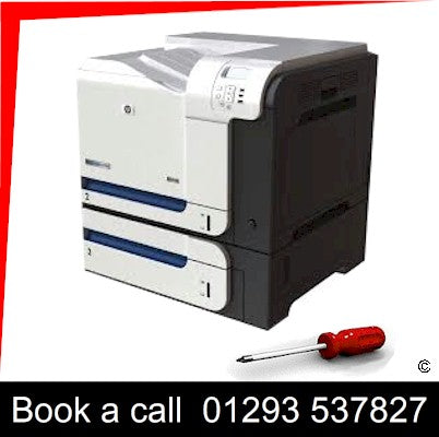 Trading Standards approved On-site HP Color LaserJet CP3525  Printer Repair Service Zone A West Sussex and Surrey We will undertake on-site laser printer repairs on HP Color LaserJet CP3525 MFP Laser Printers