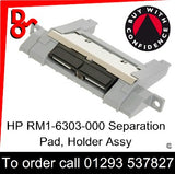 HP Spare Part, Paper Feed T2, RM1-6303-000, RM1-6303 Separation Pad, Holder assembly for sale in stock at our Crawley warehouse today for fast, UK wide delivery with a 12 month guarantee