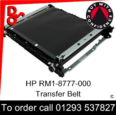 HP Spare Part, Transfer, RM1-8777-000CN, RM1-8777-000, RM1-8777 Transfer Belt for sale in stock at our Crawley warehouse today for fast, UK wide delivery with a 12 month guarantee