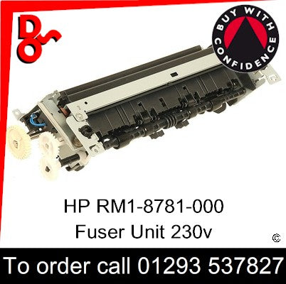 HP Spare Part, Fuser Unit, RM1-8781-000CN, RM1-8781-000, RM1-8781 Fuser 230v New for sale in stock at our Crawley warehouse today for fast, UK wide delivery with a 12 month guarantee