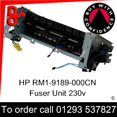 HP Spare Part, Fuser Unit, RM1-9189-000CN, RM1-9189-000, RM1-9189 New Fuser 230v for sale in stock at our Crawley warehouse today for fast, UK wide delivery with a 12 month guarantee