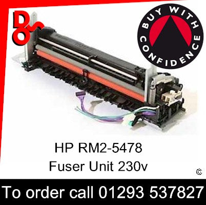 HP Spare Part, Fuser Unit, RM2-5478-000CN, RM2-5478-000, RM2-5478 Fuser Unit 230v for sale in stock at our Crawley warehouse today for fast, UK wide delivery with a 12 month guarantee