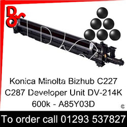 Konica Minolta Bizhub C227 C287 Developer Unit (K) Black 600k DV-214K - A85Y03D   next day UK Nationwide call 01293 537827