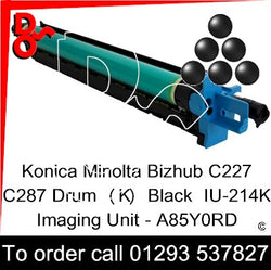 Konica Minolta Bizhub C227 C287 Drum (K) Black IU-214K Imaging Unit - A85Y0RD   next day UK Nationwide call 01293 537827
